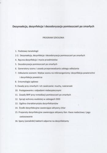 CERTYFIKAT: Dezynfekcja, dezynsekcja i dezodoryzacja pomieszczeń po zmarłych